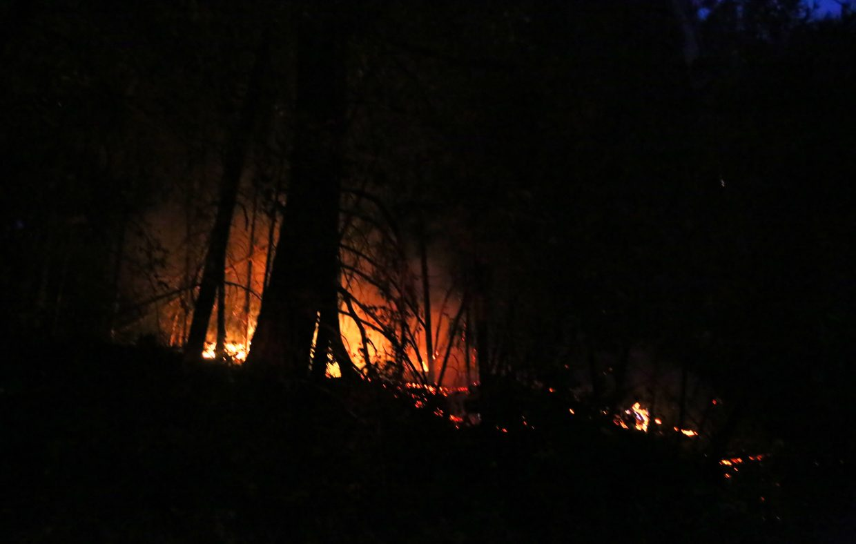 The vegetation fire from the Fair Incident illuminates the forest floor across from the North Star Mining Museum in Grass Valley where reports of a blown electrical transformer caused a power outage during the annual Nevada County Fair and subsequent vegetation fire.