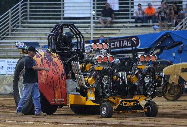 Swiss Power readies to make it's tractor pull debut at the Nevada County Fair Thursday night.