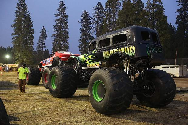 The monster trucks await their two day run at the Nevada County Fair Friday and Saturday night.