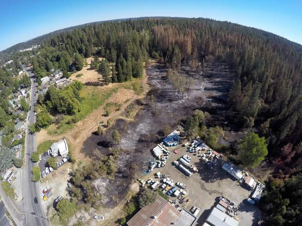 Aerial view of the area scorched by a September fire near South Auburn Street in Grass Valley.