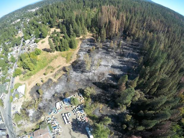 Ariel view of the Auburn Fire Sunday afternoon.