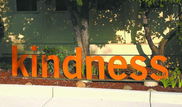 Those using the new entryway at the hospital will be met with the word, kindness.