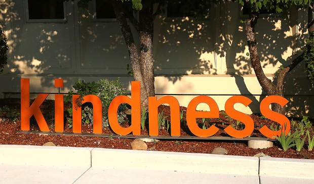 Those using the new entryway at the hospital will be met with the word kindness.