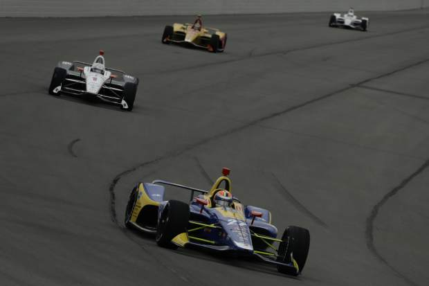 Alexander Rossi (27) led 180 of 200 laps and won the IndyCar auto race at Pocono Raceway, Sunday in Long Pond, Pa.