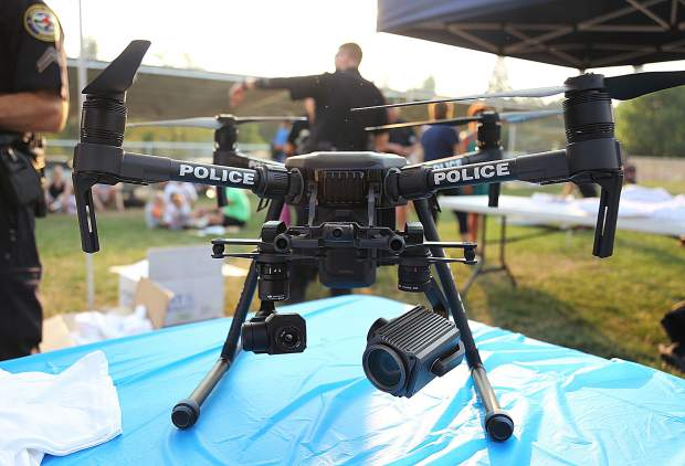 Grass Valley Police Department's new police drone was on display during Tuesday's National Night Out event. Members of the department are still training on the device, but will soon see action above the skies of Grass Valley according to Chief Alex Gammelgard.