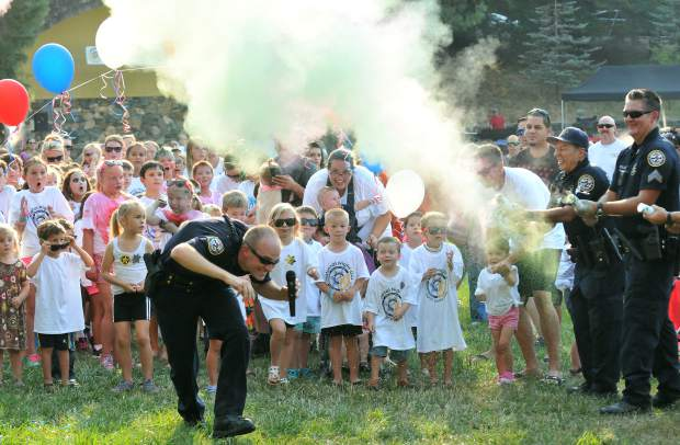 Grass Valley Police Chief Alex Gammelgard at the 2017 National Night Out color run in Nevada City's Pioneer Park.