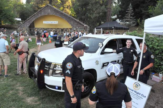 Grass Valley Police Department officers and vehicles were on display in Pioneer Park along with a showing of Nevada City and Nevada County Sheriff's personnel and vehicles.