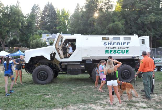 The Nevada County Sheriff's Tactical Rescue Vehicle was on display during National Night Out for folks to explore and ask questions about. The retired ambulance saw action in the middle east before being acquired by Nevada County three years ago. The vehicle is mine resistant.