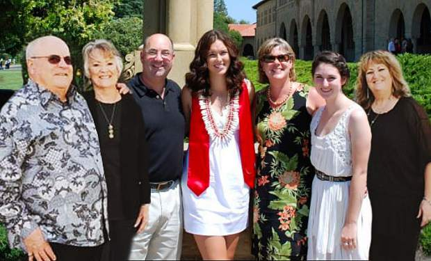 The Thomas family is close-knit. (Left to right) Ed and Barbara Thomas, son Royce, granddaughter Justine, daughter-in-law Jean, granddaughter Kelsey, and daughter Debbie.