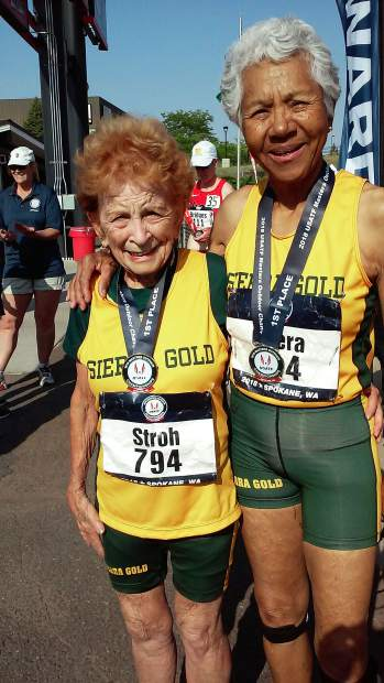 Sierra Gold athletes Betts Stroh, left, and Irene Obera combined to win six titles at the 2018 USATF National Masters Track & Field Championships in Spokane, Washington.