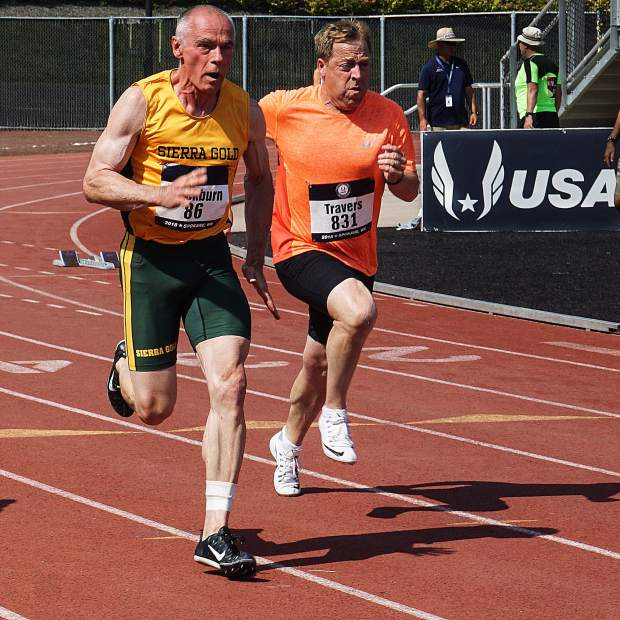 Sierra Gold's Bob Blackburn competes at the 2018 USATF National Masters Track & Field Championships in Spokane, Washington. Blackburn earned second place in the men's 60-65 100-meter dash. He also placed second in the long jump and 4x100m relay.