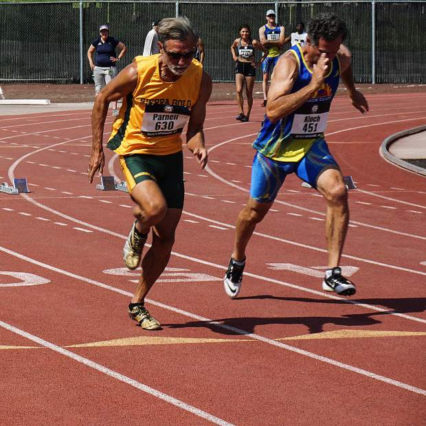 Sierra Gold's Roger Parnell competes at the 2018 USATF National Masters Track & Field Championships in Spokane, Washington. Parnell earned second place in the men's 65-69 100-meter dash and long jump.