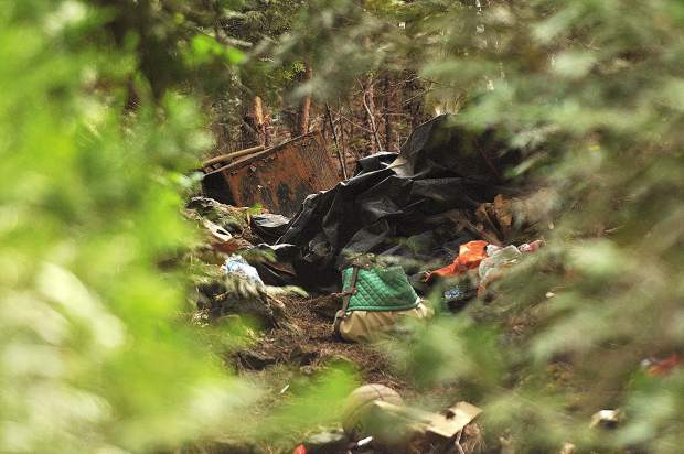 An encampment was discovered by hikers along the trail and reported to Grass Valley Police.