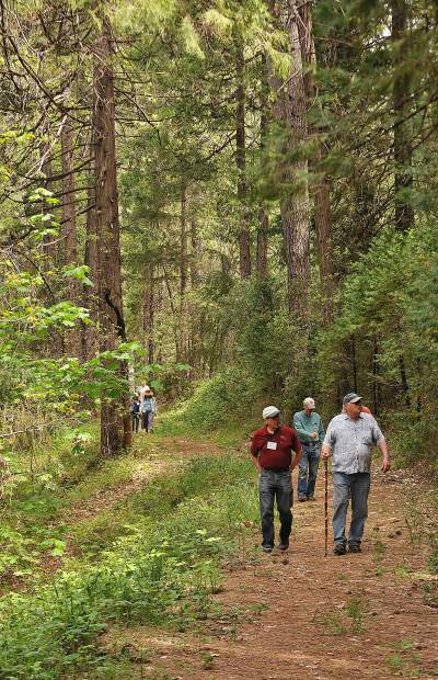 Grass Valley Mayor Howard Levine (right) and Wolf Creek Commons co-housing's Bob Branstrom lead the way on a hike of the Wolf Creek Trail in May.