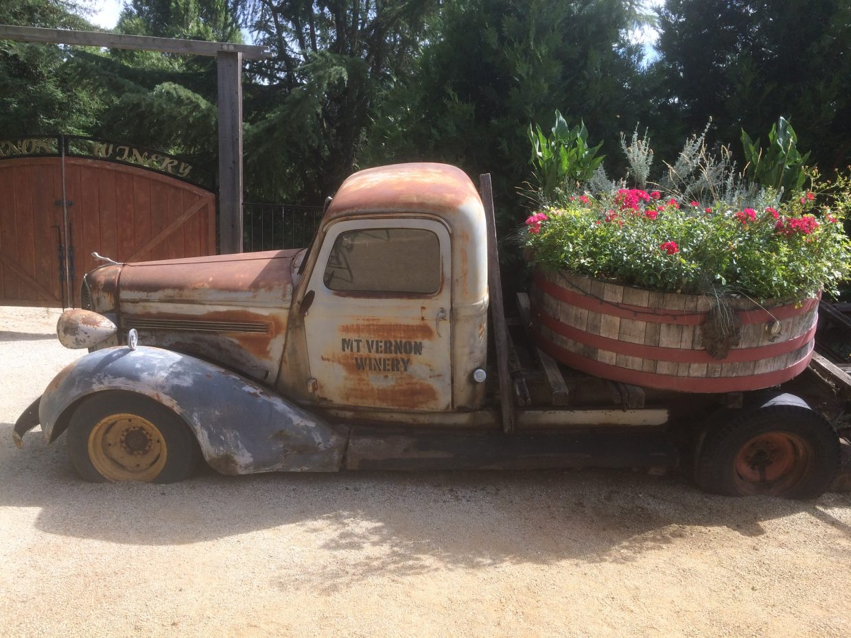 Fun art pieces dot the wine trail, such as this vintage truck at Mt. Vernon Winery.  Photo by Valerie Costa