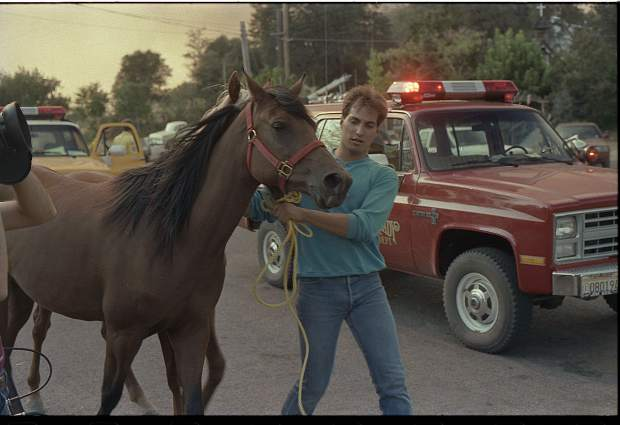 Residents help rescue horses in the Rough and Ready area during the 49er Fire in 1988.