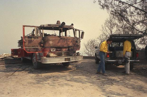 A fire engine burned during the 49er Fire, when it wrapped around West Wildwood Drive, near Lake Wildwood.