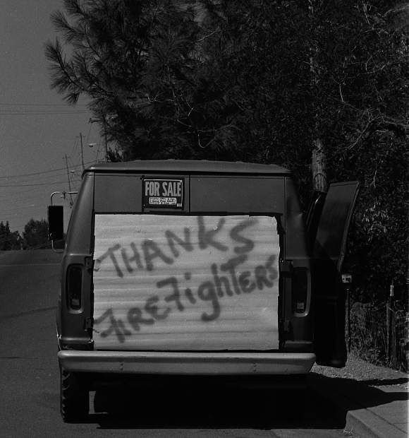 Residents leave a message of support for firefighters on the 1988 49er Fire.