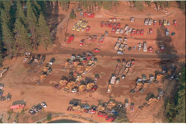 Equipment awaits deployment at the Cal Fire staging area at the Nevada County Fairgrounds during the 49er Fire in September of 1988.