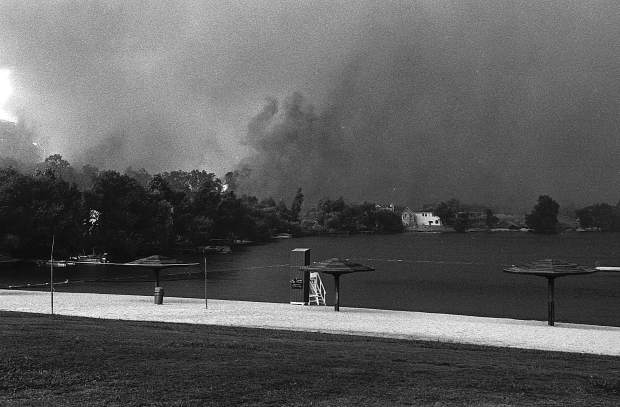 The scene from a Lake Wildwood beach in September 1988, when the 49er Fire burned through western Nevada County.