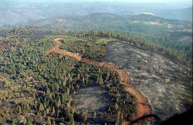 Aerial view of the fire's path.