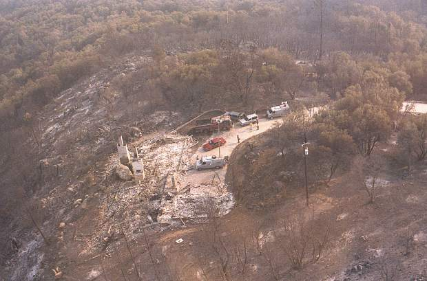 Aerial view of home destroyed by the 49er Fire.