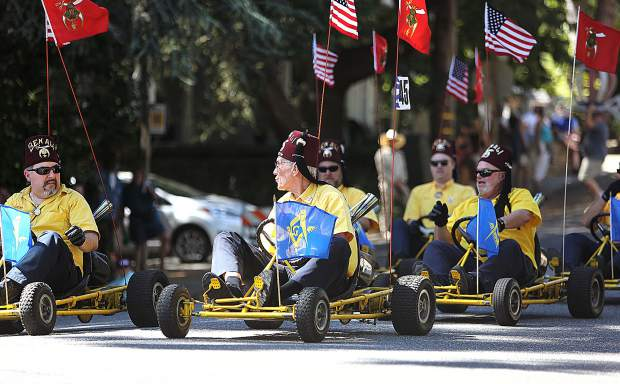 Shriners go-kart riders are always a crowd pleaser during the the annual Nevada City Constitution Day Parades.