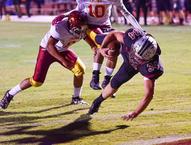 Bear River's Hunter Daniels scores a touchdown during the Bruins' 54-0 victory over Encina Prep Friday night.