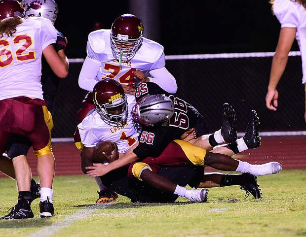 Bear River's Shelbi Beghetti makes a tackle during the Bruins' 54-0 victory over Encina Prep Friday night.