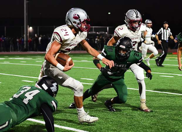 Bear River's Tre Maronic rushed for a touchdown and returned a kickoff for a touchdown in the Bruins 49-21 victory over Liberty Ranch Friday night. Maronic has scored multiple touchdowns in every game this season and has nine total (six rushing, two receiving and one kick off return).