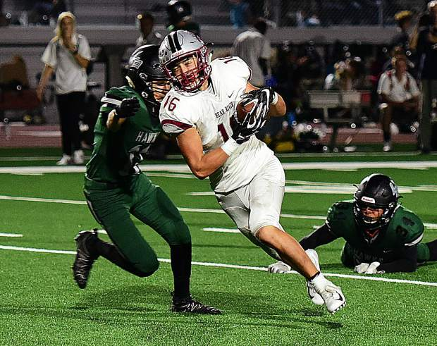 Bear River's Josiah Cregar hauls in a pass during the Bruins 49-21 victory over Liberty Ranch.