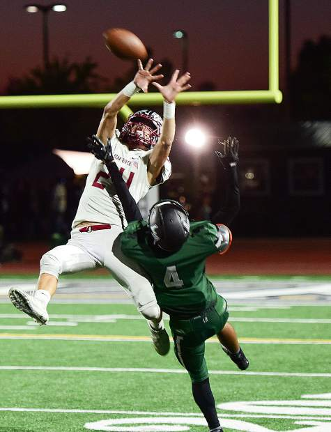 Bear River's Tre Maronic hauls in a 38-yard pass during the Bruins' 49-21 victory over Liberty Ranch Friday. Maronic scored twice in the game, reaching the end zone on a 6-yard run and a 92-yard kickoff return. Maronic has scored multiple touchdowns in every game this season and has nine total (six rushing, two receiving and one kick off return).