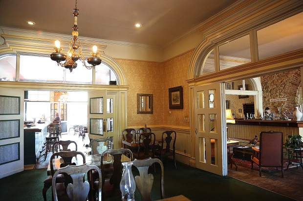 The dining room, bar, and hotel lobby are open and ready for clientele to return to the Holbrooke Hotel.