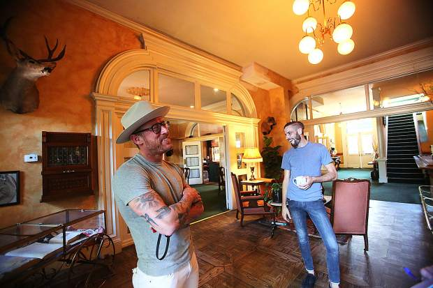 Holbrooke Hotel owner Jordan Fife (left) stands with Michael Worth inside the historic downtown Grass Valley hotel that re-opened a few weeks ago after a brief ownership transition. The two will continue on planned renovations in the coming months.