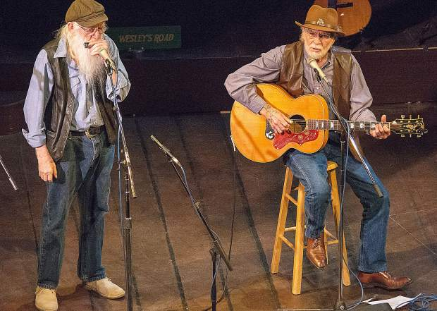 Dakota Sid Clifford, right, and Homer Wills perform during Monday's