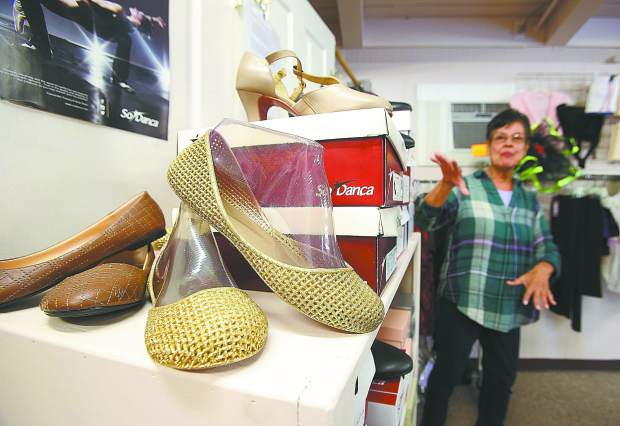 Dancing shoes for every occasion fill Delores Jones' Escott Place in downtown Grass Valley, many used for local plays and theater performances.