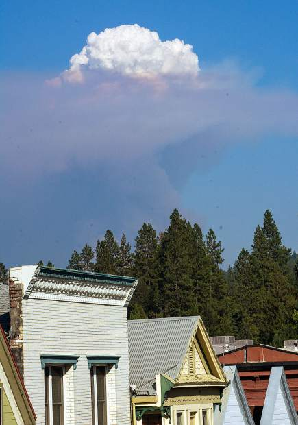 Smoke from the North Fire off I-80, Monday afternoon, as seen from Broad Street in Nevada City.