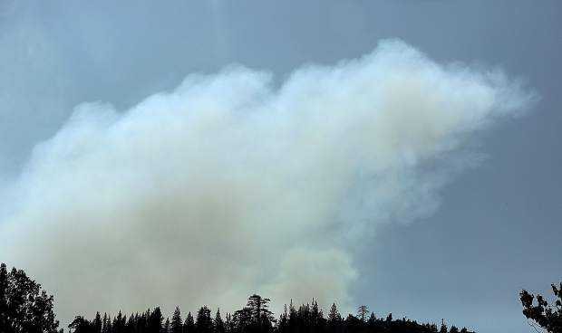 Smoke from the North Fire around 4 p.m. when the fire was reported at only 15 acres, visible from I-80 at Emigrant Gap.