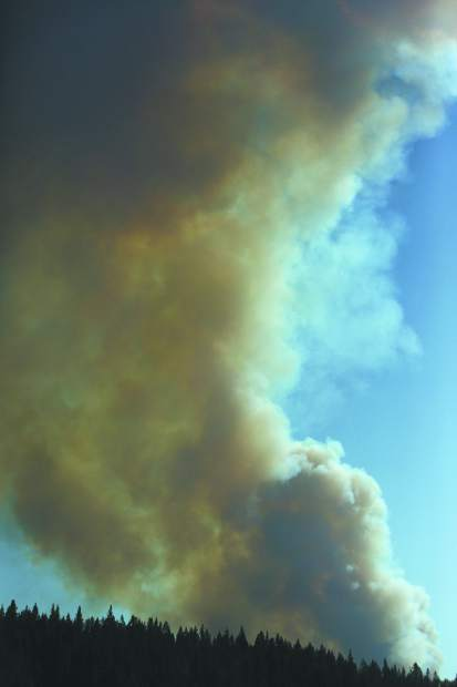 Large plumes of smoke fill the air above Northern California at Emigrant Gap west of Truckee where the North Fire began Monday afternoon. Reportedly moving at a rapid rate of spread. VLAT's (very large air tankers) are on order.
