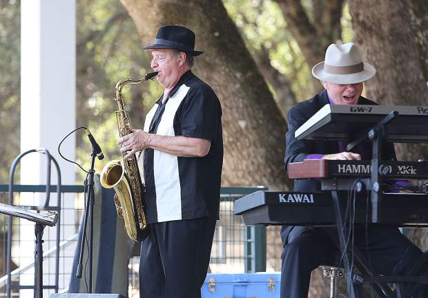 Musicians from the Sacramento based gospel jazz and blues band Machaira, entertain those in attendance of Saturday's Praise in the Mountains event, now going on its 27th year.