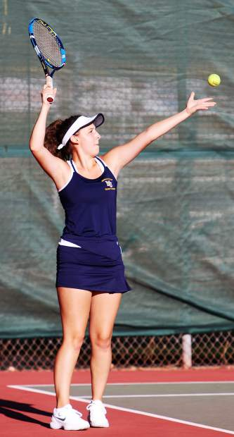 Nevada Union's Sammie Maliszewski (pictured) and her doubles partner Jewel Jones won the No. 3 doubles match over their Oakmont opponents Thursday at NU.