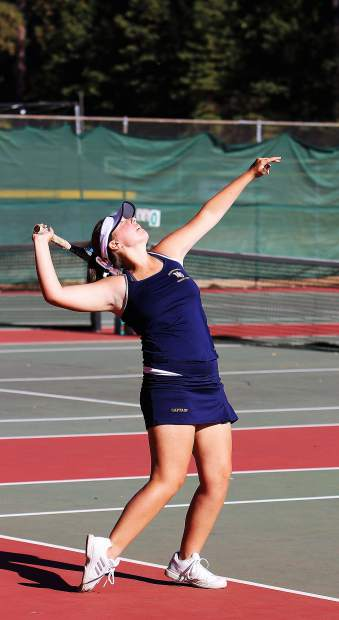 Nevada Union's Brenna Chargin won the No. 3 singles match over her Oakmont opponent 7-6, 6-4.