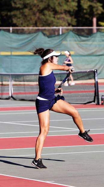 Nevada Union's Monica Kittle during a doubles match against Oakmont.