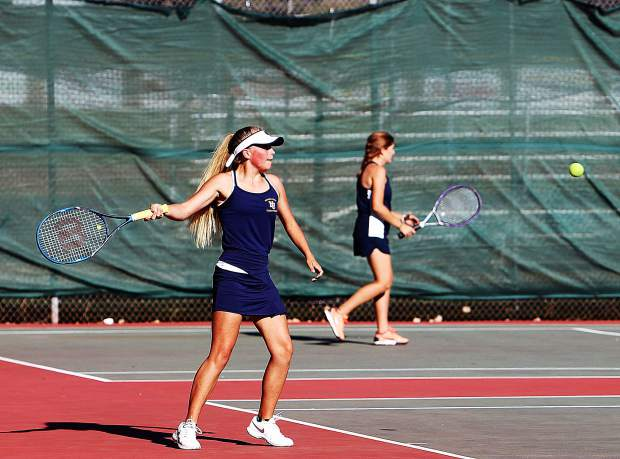 Nevada Union's Reese Wheeler won the No. 4 singles match over her Oakmont opponent 6-3, 6-1.