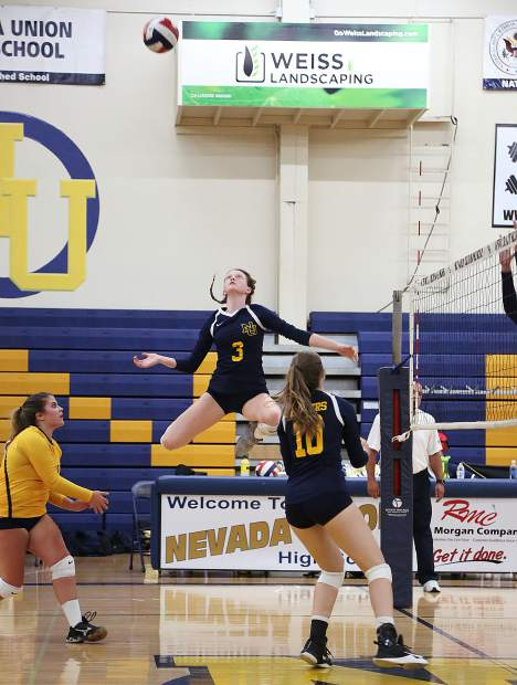 Nevada Union's Faith Menary (3) tallied a team-high 18 kills in the Lady Miners' victory over Pleasant Valley Wednesday night at Albert Ali Gymnasium.