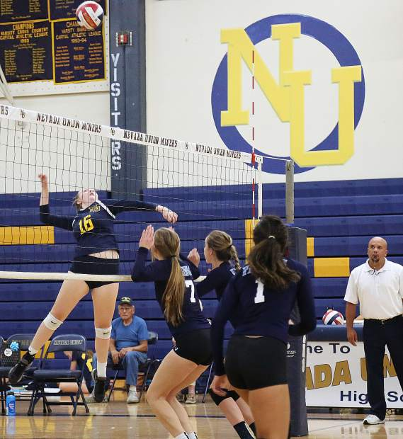 Nevada Union's Emerson Dunbar scored 12 kills in the Lady Miners' victory over Pleasant Valley Wednesday night.