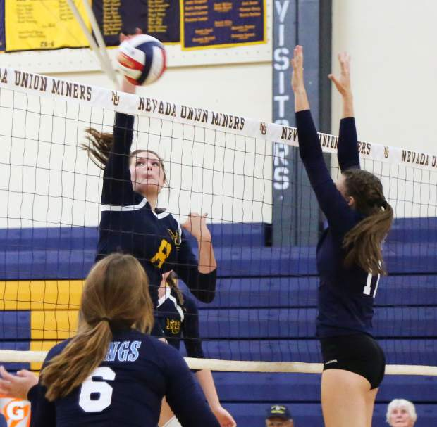 Nevada Union's Teola Nowak tallied 11 kills in the Lady Miners' victory over Pleasant Valley Wednesday night.