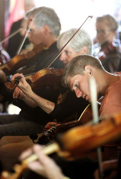 Penn Valley's Jacob Pasner plays the fiddle along with the youth session group on the sessions stage Saturday afternoon at the KVMR Celtic Fair.
