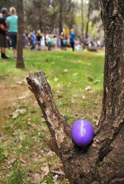 A plastic Easter egg awaits to be discovered during the NID Easter Egg hunt at Orchard Springs Campground.