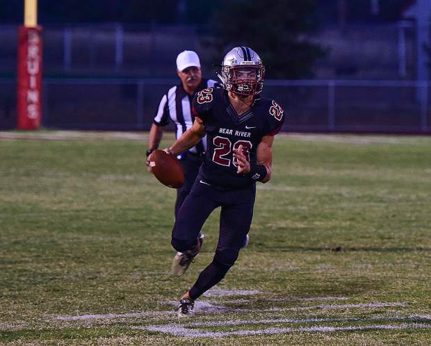 Bear River quarterback Clader Kunde finished 6-of-7 for 168 yards and three touchdowns in the Bruins' 54-7 win over El Dorado Friday night.